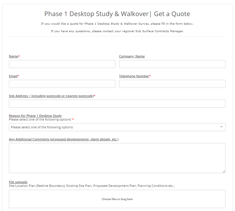 Phase 1 Desktop Study Contact Form